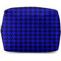 Blue Dogtooth Makeup Bag