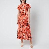 RIXO Women's Pepper Dress - Mono Sea Life Coral - UK 8