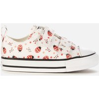 Converse Toddlers' Chuck Taylor All Star Ladybird Velcro Ox Trainers - White/Red/Black - UK 4 Toddle