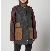 Barbour Womens Luss Wax Jacket - Sage/Bordeaux/Sand - UK 10