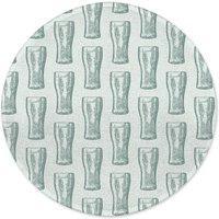 Beer Glass Pattern Round Bath Mat