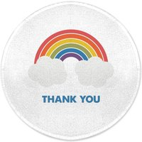 Rainbow With Clouds Thank You Round Bath Mat