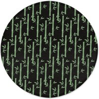 Bamboo Forest At Night Round Bath Mat