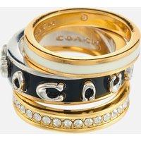 Coach Women's Pegged Enamel C Ring Set - Gold/Black - 6