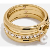 Coach Women's Classic Pearl Ring Set - Gold - 7
