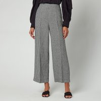 Whistles Womens Check Linen Cropped Trousers - Navy - UK 12