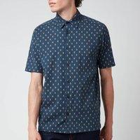Ted Baker Mens Ginton Diamond Gio Short Sleeve Shirt - Navy - 4/L