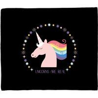 Unicorns Are Real Circle Fleece Blanket - M