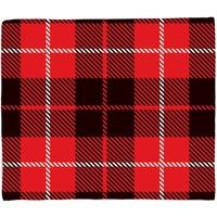 Image of Black, Red And White Large Box Tartan Fleece Blanket - M