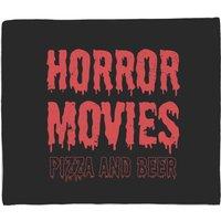 Horror Movie Pizza And Beer Fleece Blanket - M