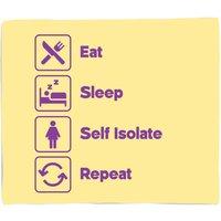 Ladies Eat Sleep Self Isolate Repeat Fleece Blanket - M