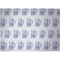 Beer Glass Pattern Woven Rug - Large