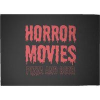 Horror Movie Pizza And Beer Woven Rug - Large