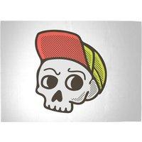 Baseball Cap Skull Woven Rug - Large