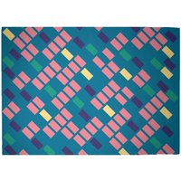 Rainbow Scattered Lines Woven Rug - Large