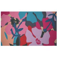 Giant Retro Flowers Woven Rug - Small