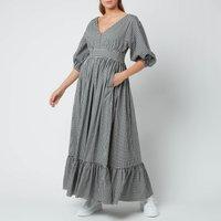 Kate Spade New York Womens Mini Gingham Bodega Midi Dress - Black - UK 12