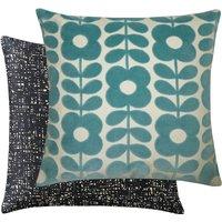 Orla Kiely Flower Stem Velvet Cushion - Blue