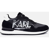 KARL LAGERFELD Men's Velocitor II Art Deco Leather Running Style Trainers - Black/White - UK 10