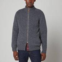 Barbour Mens Calder Knitted Zip Through Jacket - Charcoal Marl - XL