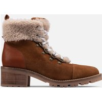 Clarks Womens Roseleigh Sky Suede Heeled Hiking Style Boots - Dark Tan - UK 8