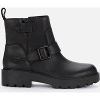 UGG Women's Saoirse Waterproof Leather Biker Boots - Black - UK 5