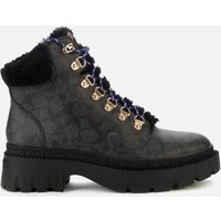 Coach Women's Janel Coated Canvas Hiking Style Boots - Charcoal - UK 5
