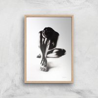 Nude Woman Charcoal Study 41 Giclee Art Print - A2 - Wooden Frame
