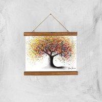 Rainbow Soul Tree Giclee Art Print - A4 - Wooden Hanger