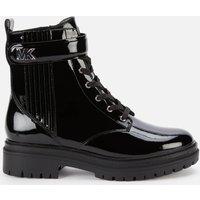 MICHAEL Michael Kors Womens Stark Patent Leather Lace Up Boots - Black - UK 6