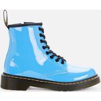 Dr Martens Kids' 1460 Patent Lamper Lace Up Boots - Mid Blue Patent Lamper - UK 12 Kids