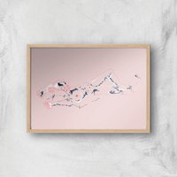 Girl Lying Down Art Print Giclee Art Print - A2 - Wooden Frame