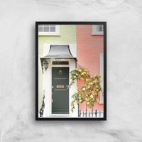 Pastel Walls And Dark Doors Giclee Art Print - A4 - Wooden Frame