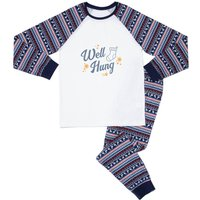 A Well Hung Stocking Men's Pyjama Set - Blue White Pattern - L - Blue White Pattern