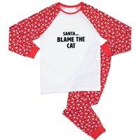 Santa...Blame Blame The Cat Unisex Pyjama Set - Red White Pattern - XXL - Red White Pattern