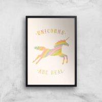 Florent Bodart Unicorns Are Real Art Print - A2 - White Frame