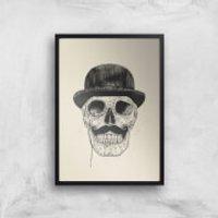 Balazs Solti Monocle Skull Art Print - A4 - White Frame