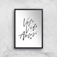PlanetA444 Veni, Vidi, Amavi Art Print - A2 - White Frame