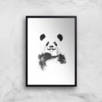 Balazs Solti Moustache and Panda Art Print - A2 - Black Frame