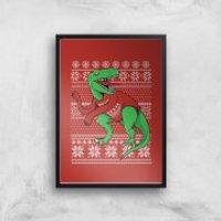 T-Rex Sleeves Art Print - A4 - Wood Frame