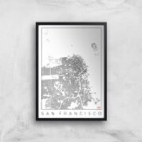 City Art Black and White San Francisco Map Art Print - A2 - Wood Frame