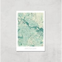 City Art Coloured Amsterdam Map Art Print - A4 - Print Only