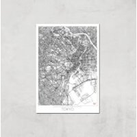 City Art Black and White Outlined Tokyo Map Art Print - A4 - No Hanger