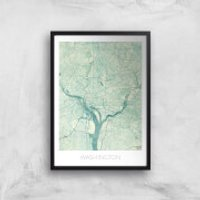 City Art Coloured Washington Map Art Print - A2 - Wood Frame