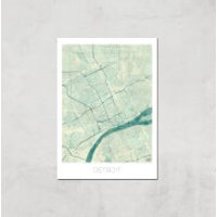City Art Coloured Detroit Map Art Print - A3 - Print Only