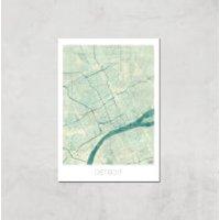 City Art Coloured Detroit Map Art Print - A3 - Print Only
