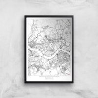 City Art Black and White Outlined Seoul Map Art Print - A2 - Wood Frame
