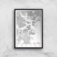 City Art Black and White Boston Map Art Print - A4 - Black Frame