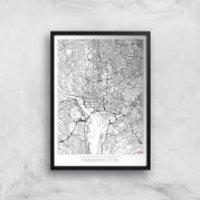 City Art Black and White Outlined Washington Map Art Print - A3 - Black Frame
