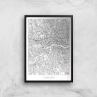 City Art Black and White Outlined London Map Art Print - A2 - White Frame